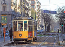 Woman Is Driving Tramway In Milan Stock Photos