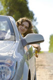 Woman Is Sitting In A Car Royalty Free Stock Photo