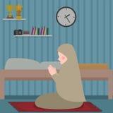 Woman islam pray in tahajud shalat at night in her room. Vector Stock Photography
