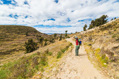 Woman on Island of the Sun, Titicaca Lake, Bolivia Stock Photography