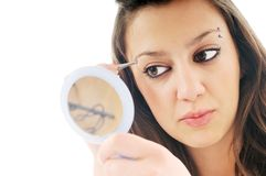 Woman isolated eye brow beauty treatment Stock Photography