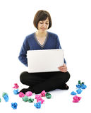 Woman isolated looking for solutions Stock Photo