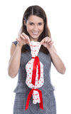 Woman isolated with a present for valentines day. Royalty Free Stock Images
