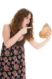 Woman isolated in white with a marine conch Royalty Free Stock Photos