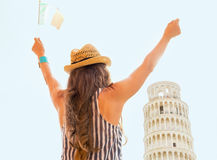 Woman with italian flag rejoicing in pisa Royalty Free Stock Image