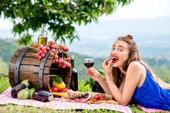 Woman with italian food outdoors Royalty Free Stock Photography