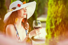 Woman and italian wine Stock Images