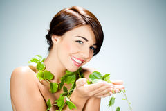 Woman with ivy Stock Photography