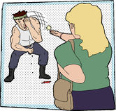 Woman Jabs Eye. Woman jabbing male attacker in the eye Royalty Free Stock Photo