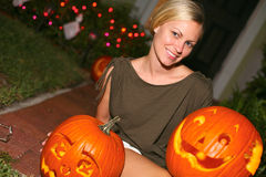Woman With Jack-o-Lantern Stock Image