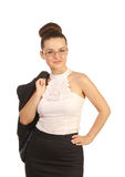Woman with jacket on his shoulder Royalty Free Stock Photos