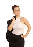 Woman with jacket on his shoulder Stock Photography