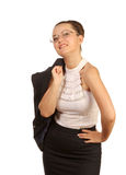 Woman with jacket on his shoulder Royalty Free Stock Photo