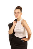 Woman with jacket on his shoulder Royalty Free Stock Photography