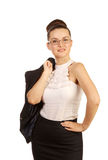 Woman with jacket on his shoulder Stock Photos