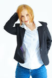 Woman in jacket and jeans Royalty Free Stock Photography