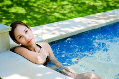 Woman In Jacuzzi Stock Image
