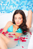Woman in jacuzzi Royalty Free Stock Images
