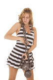 Woman jail with chain around her Stock Photography