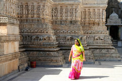 Woman in a Jain temple. Indian woman visiting Jain temple, India royalty free stock image
