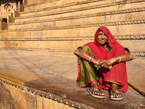 Woman at Jaisalmer Fort. A woman on the stairs of the Temple in Jaisalmer, Rajasthan, India Royalty Free Stock Image