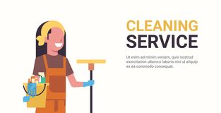 Woman janitor holding bucket with tools and mop cleaning service concept smiling female worker portrait horizontal copy. Space flat vector illustration vector illustration
