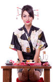 Woman in Japanese kimono Stock Photography