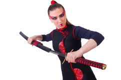 Woman in japanese martial Royalty Free Stock Photos