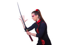 Woman in japanese martial Stock Image