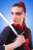 Woman in japanese martial art concept Stock Photo