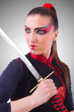 Woman in japanese martial art concept Royalty Free Stock Image