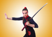 The woman in japanese martial art concept Royalty Free Stock Image