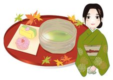 Woman and japanese sweets royalty free illustration