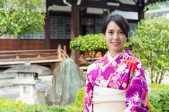 Woman in Japanese temple Stock Photo