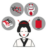 Woman japanese traditional clothes symbol icons Stock Photography