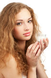 Woman with jar of  moisturizing cream Royalty Free Stock Images