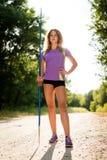 Woman with javelin portrait Stock Image
