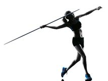 Woman Javelin thrower silhouette Stock Images