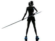 Woman Javelin thrower silhouette Royalty Free Stock Image