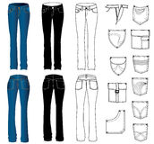 Woman jeans. Fashion jeans for woman.Clothes Stock Images