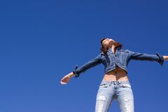 Woman in jeans Royalty Free Stock Image