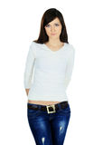 Woman in jeans and blouse posing on white background Stock Image