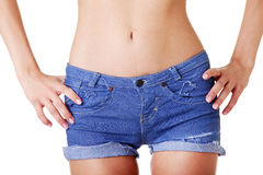Woman in jeans shorts Royalty Free Stock Photos