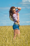 A woman in jeans shorts in a wheat field Royalty Free Stock Image