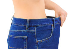 Woman and jeans - slimming Royalty Free Stock Photo