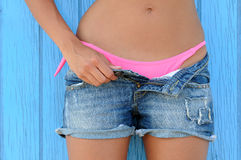 Woman in jeans texas shorts Stock Image
