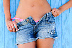 Woman in jeans texas shorts Stock Photo