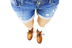 Woman in jeans texas shorts Stock Images