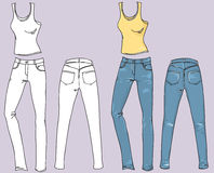 Woman jeans and top.Vector fashion clothes Stock Images