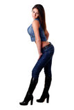 Woman in jeans wear Royalty Free Stock Photography